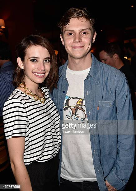 Actors Emma Roberts and Evan Peters attend Twentieth Century Fox Television's ComicCon Stars Producers Cocktail Party during ComicCon International...