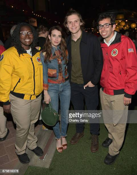 Actors Emma Roberts and Evan Peters with City Year AmeriCorps members at City Year Los Angeles Spring Break on May 6 2017 in Los Angeles California