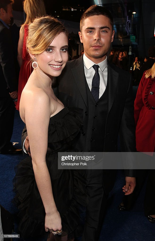 Actors <a gi-track='captionPersonalityLinkClicked' href=/galleries/search?phrase=Emma+Roberts&family=editorial&specificpeople=226535 ng-click='$event.stopPropagation()'>Emma Roberts</a> and <a gi-track='captionPersonalityLinkClicked' href=/galleries/search?phrase=Zac+Efron&family=editorial&specificpeople=533070 ng-click='$event.stopPropagation()'>Zac Efron</a> arrive at the 2011 People's Choice Awards at Nokia Theatre L.A. Live on January 5, 2011 in Los Angeles, California.