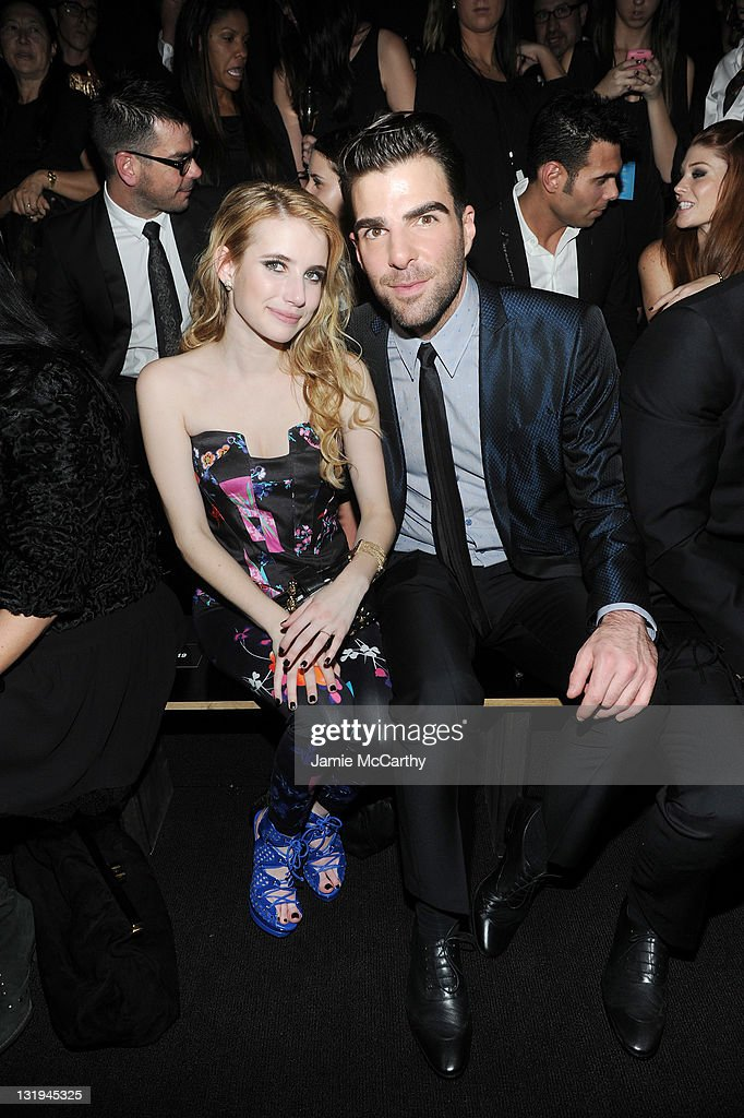 Actors <a gi-track='captionPersonalityLinkClicked' href=/galleries/search?phrase=Emma+Roberts&family=editorial&specificpeople=226535 ng-click='$event.stopPropagation()'>Emma Roberts</a> and <a gi-track='captionPersonalityLinkClicked' href=/galleries/search?phrase=Zachary+Quinto&family=editorial&specificpeople=715956 ng-click='$event.stopPropagation()'>Zachary Quinto</a> attend the Versace for H&M Fashion event at the H&M on the Hudson on November 8, 2011 in New York City.