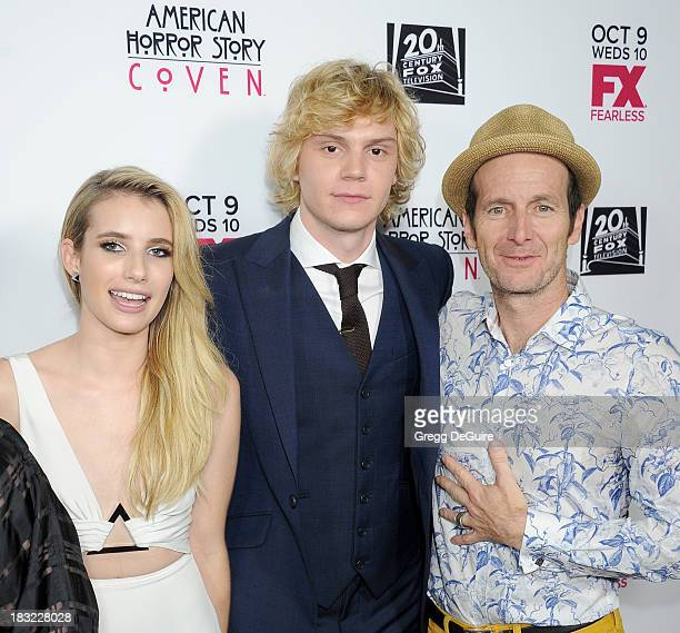 Actors Emma Roberts Evan Peters and Denis O'Hare arrive at the Los Angeles premiere of FX's 'American Horror Story Coven' at Pacific Design Center on...