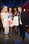 Actors Emma Roberts Lea Michele and Josh Hutcherson attend the Teen Choice Awards 2015 at the USC Galen Center on August 16 2015 in Los Angeles...
