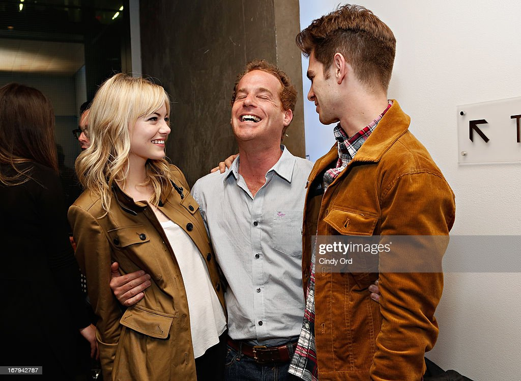 Actors <a gi-track='captionPersonalityLinkClicked' href=/galleries/search?phrase=Emma+Stone&family=editorial&specificpeople=672023 ng-click='$event.stopPropagation()'>Emma Stone</a>, Adam James and <a gi-track='captionPersonalityLinkClicked' href=/galleries/search?phrase=Andrew+Garfield&family=editorial&specificpeople=4047840 ng-click='$event.stopPropagation()'>Andrew Garfield</a> attend the Opening Night Of The US Premiere Of 'BULL At Brits' Off Broadway After Party at 59E59 Theaters on May 2, 2013 in New York City.