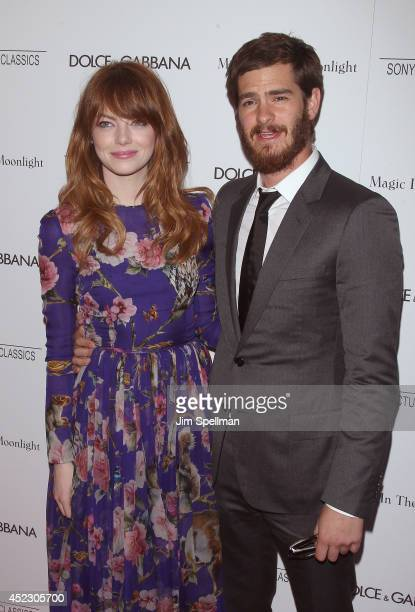 Actors Emma Stone and Andrew Garfield attend 'Magic In The Moonlight' premiere at Paris Theater on July 17 2014 in New York City