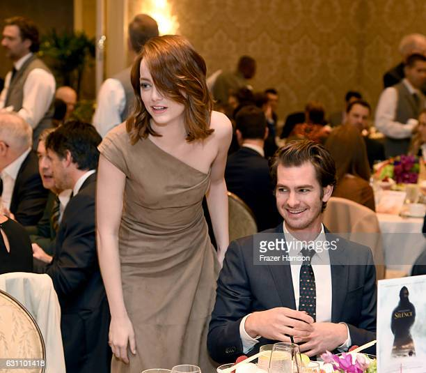 Actors Emma Stone and Andrew Garfield attend the 17th annual AFI Awards at Four Seasons Los Angeles at Beverly Hills on January 6 2017 in Los Angeles...