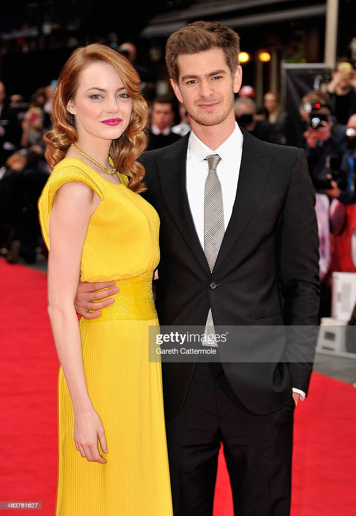 Actors Emma Stone and Andrew Garfield attend 'The Amazing Spider-Man 2' world premiere at the Odeon Leicester Square on April 10, 2014 in London, England.