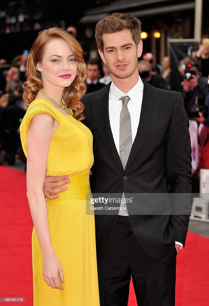 Actors <a gi-track='captionPersonalityLinkClicked' href=/galleries/search?phrase=Emma+Stone&family=editorial&specificpeople=672023 ng-click='$event.stopPropagation()'>Emma Stone</a> and <a gi-track='captionPersonalityLinkClicked' href=/galleries/search?phrase=Andrew+Garfield&family=editorial&specificpeople=4047840 ng-click='$event.stopPropagation()'>Andrew Garfield</a> attend 'The Amazing Spider-Man 2' world premiere at the Odeon Leicester Square on April 10, 2014 in London, England.