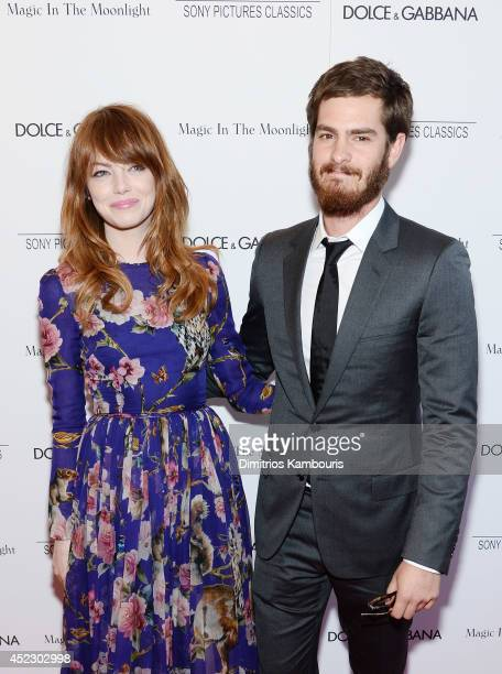 Actors Emma Stone and Andrew Garfield attend the 'Magic In The Moonlight' premiere at the Paris Theater on July 17 2014 in New York City