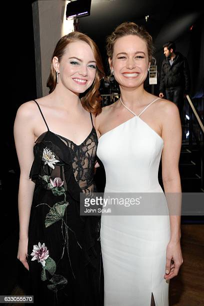 Actors Emma Stone and Brie Larson attend The 23rd Annual Screen Actors Guild Awards at The Shrine Auditorium on January 29 2017 in Los Angeles...