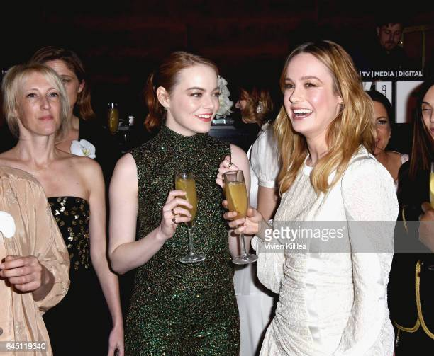Actors Emma Stone and Brie Larson attend the tenth annual Women in Film PreOscar Cocktail Party presented by Max Mara and BMW at Nightingale Plaza on...