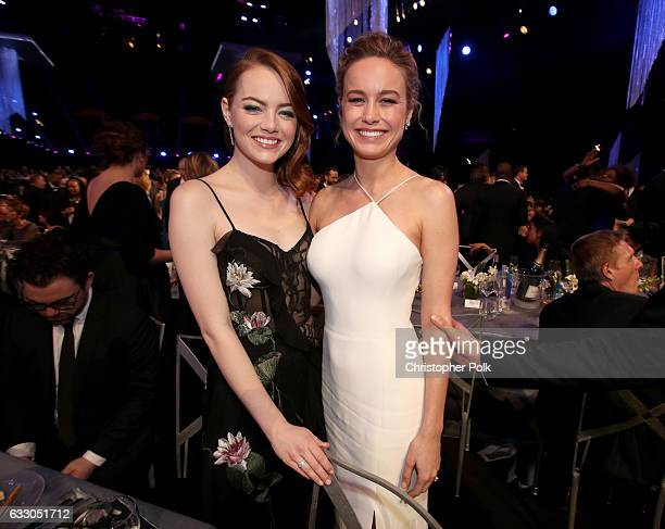 Actors Emma Stone and Brie Larson during The 23rd Annual Screen Actors Guild Awards at The Shrine Auditorium on January 29 2017 in Los Angeles...
