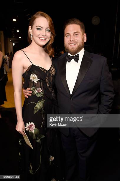 Actors Emma Stone and Jonah Hill attend The 23rd Annual Screen Actors Guild Awards at The Shrine Auditorium on January 29 2017 in Los Angeles...