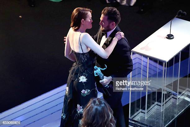 Actors Emma Stone and Jonas Hill onstage The 23rd Annual Screen Actors Guild Awards at The Shrine Auditorium on January 29 2017 in Los Angeles...