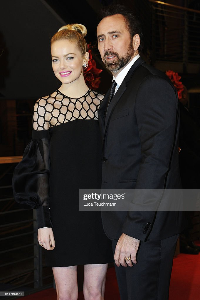 Actors Emma Stone and Nicolas Cage attend 'The Croods' Premiere during the 63rd Berlinale International Film Festival at Berlinale Palast on February 15, 2013 in Berlin, Germany.