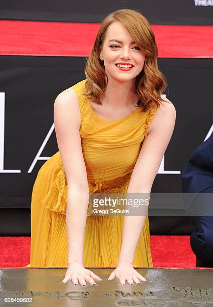 Actors Emma Stone and Ryan Gosling are honored with a Hand and Footprint Ceremony at TCL Chinese Theatre IMAX on behalf of Lionsgate's LA LA LAND on...