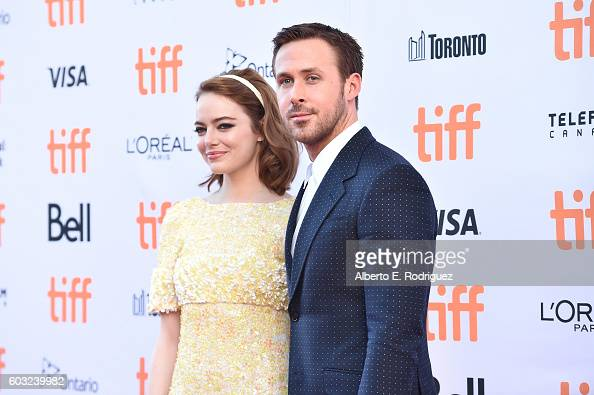 Actors Emma Stone and Ryan Gosling attend the 'La La Land' Premiere during the 2016 Toronto International Film Festival at Princess of Wales Theatre...