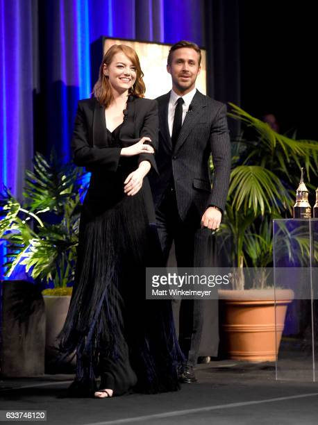 Actors Emma Stone and Ryan Gosling attend the Outstanding Performers Tribute honoring Ryan Gosling and Emma Stone during the 32nd Santa Barbara...