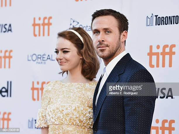 Actors Emma Stone and Ryan Gosling attend the premiere of 'La La Land' as part of the Toronto International Film Festival at The Princess of Wales...