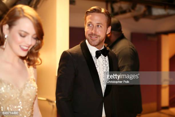 Actors Emma Stone and Ryan Gosling backstage during the 89th Annual Academy Awards at Hollywood Highland Center on February 26 2017 in Hollywood...