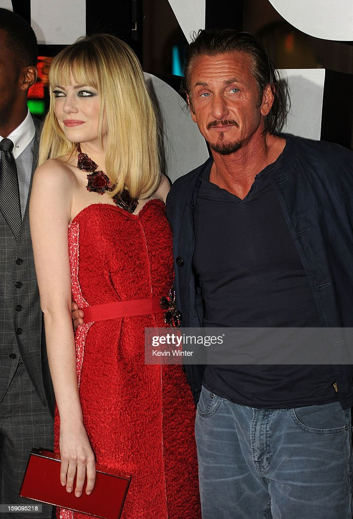 Actors Emma Stone and Sean Penn arrive at Warner Bros. Pictures' 'Gangster Squad' premiere at Grauman's Chinese Theatre on January 7, 2013 in Hollywood, California.