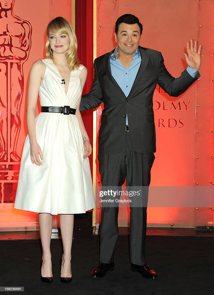 Actors Emma Stone and Seth MacFarlane on stage during the 85th Academy Awards Nominations Announcement held at AMPAS Samuel Goldwyn Theater on January 10, 2013 in Beverly Hills, California.