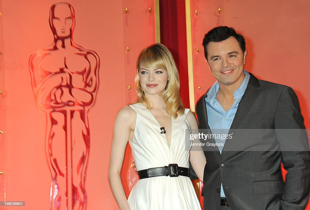 Actors <a gi-track='captionPersonalityLinkClicked' href=/galleries/search?phrase=Emma+Stone&family=editorial&specificpeople=672023 ng-click='$event.stopPropagation()'>Emma Stone</a> and <a gi-track='captionPersonalityLinkClicked' href=/galleries/search?phrase=Seth+MacFarlane&family=editorial&specificpeople=549856 ng-click='$event.stopPropagation()'>Seth MacFarlane</a> on stage during the 85th Academy Awards Nominations Announcement held at AMPAS Samuel Goldwyn Theater on January 10, 2013 in Beverly Hills, California.