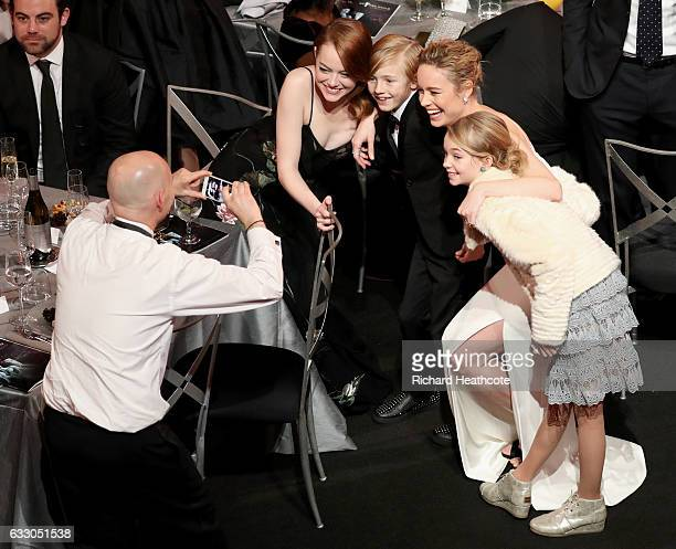 Actors Emma Stone Charlie Shotwell Brie Larson and Shree Crooks during The 23rd Annual Screen Actors Guild Awards at The Shrine Auditorium on January...