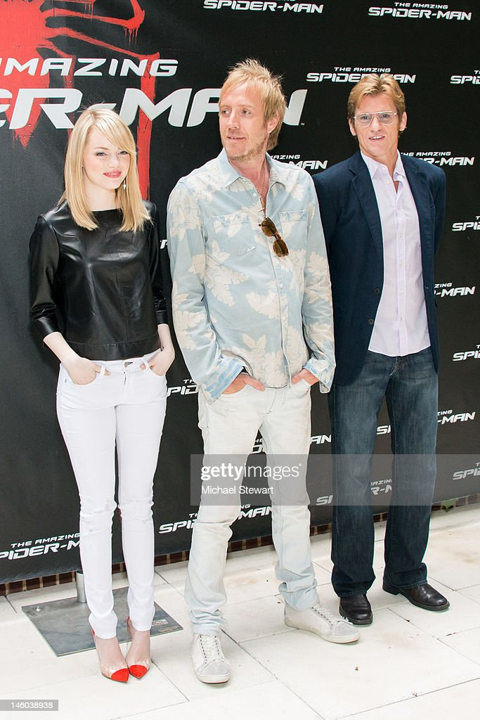 Actors Emma Stone, Rhys Ifans and Denis Leary attend the 'The Amazing Spider-Man' New York City Photo Call at Crosby Street Hotel on June 9, 2012 in New York City.