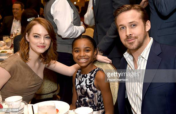 Actors Emma Stone Saniyya Sidney and Ryan Gosling attend the 17th annual AFI Awards at Four Seasons Los Angeles at Beverly Hills on January 6 2017 in...