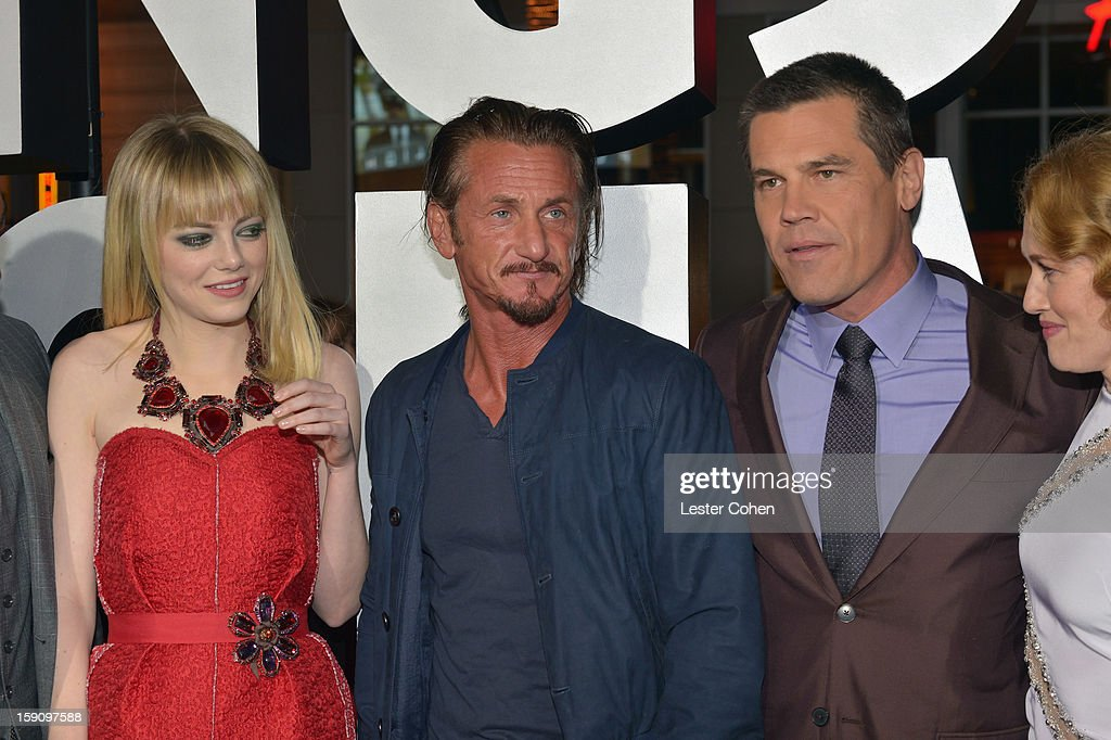 Actors Emma Stone, Sean Penn and Josh Brolin arrive at the 'Gangster Squad' premiere at Grauman's Chinese Theatre on January 7, 2013 in Hollywood, California.