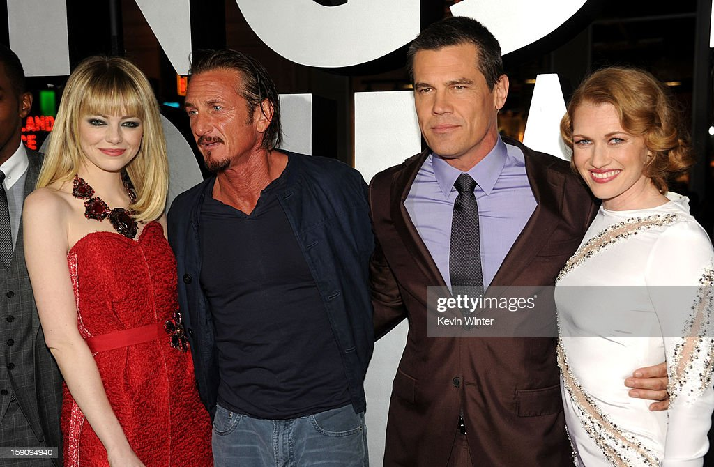 Actors Emma Stone, Sean Penn, Josh Brolin and Mireille Enos arrive at Warner Bros. Pictures' 'Gangster Squad' premiere at Grauman's Chinese Theatre on January 7, 2013 in Hollywood, California.