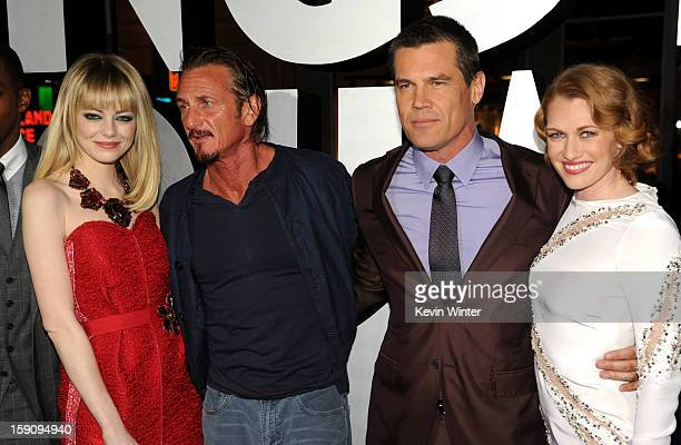 Actors Emma Stone Sean Penn Josh Brolin and Mireille Enos arrive at Warner Bros Pictures' 'Gangster Squad' premiere at Grauman's Chinese Theatre on...
