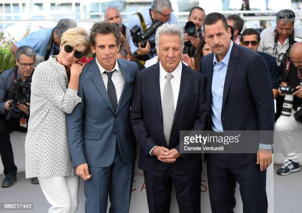 Actors Emma Thompson actors Ben Stiller Dustin Hoffman and Adam Sandler attend 'The Meyerowitz Stories' photocall during the 70th annual Cannes Film...