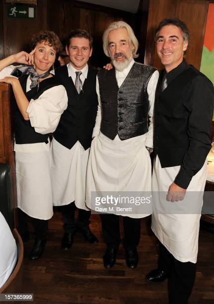 Actors Emma Thompson Allen Leech Roger Lloyd Pack and Greg Wise working as waiters attend One Night Only at The Ivy featuring 30 stage and screen...