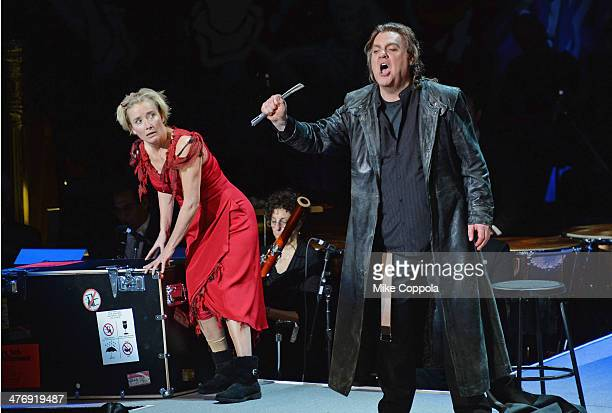 Actors Emma Thompson and Bryn Terfel perform at the 2014 The New York Philharmonic Spring Gala featuring 'Sweeney Todd The Demon Barber of Fleet...