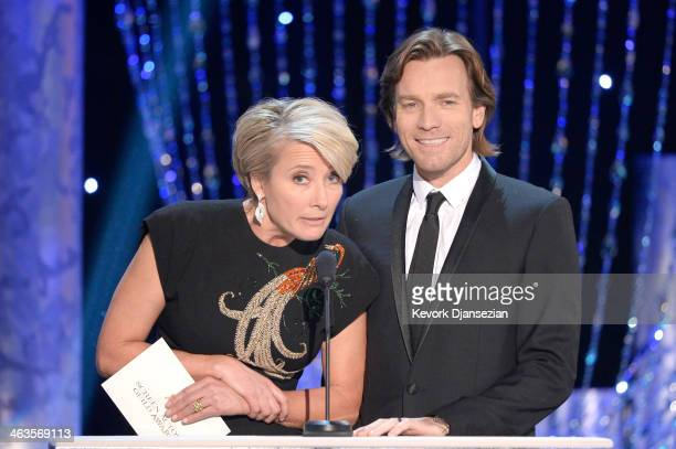 Actors Emma Thompson and Ewan McGregor speak onstage during the 20th Annual Screen Actors Guild Awards at The Shrine Auditorium on January 18 2014 in...