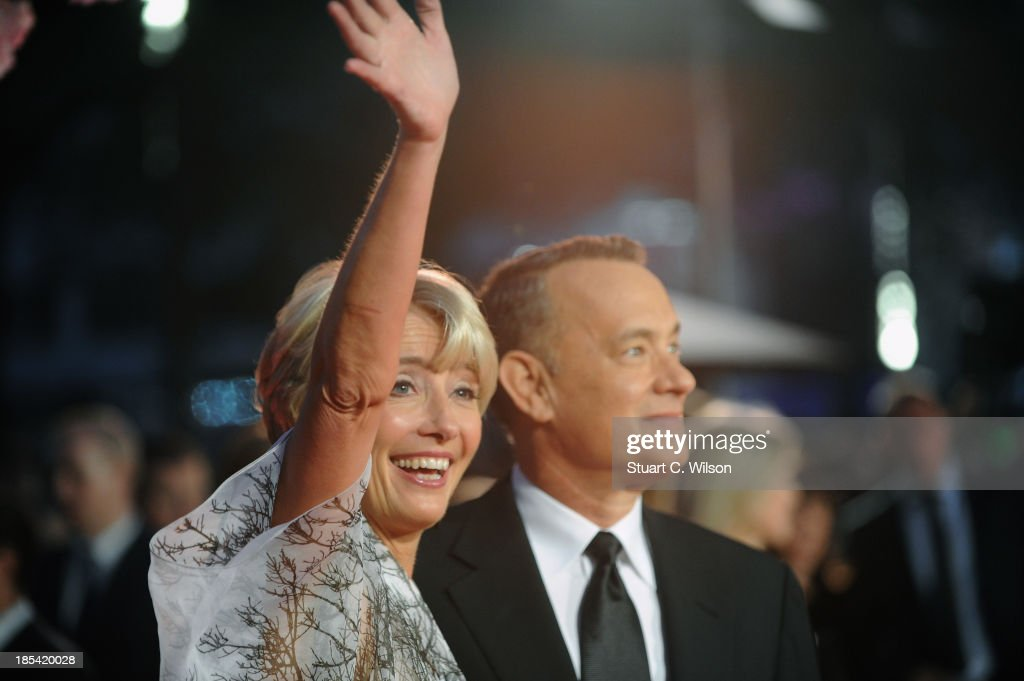 Actors <a gi-track='captionPersonalityLinkClicked' href=/galleries/search?phrase=Emma+Thompson&family=editorial&specificpeople=202848 ng-click='$event.stopPropagation()'>Emma Thompson</a> and <a gi-track='captionPersonalityLinkClicked' href=/galleries/search?phrase=Tom+Hanks&family=editorial&specificpeople=201790 ng-click='$event.stopPropagation()'>Tom Hanks</a> attend the Closing Night Gala European Premiere of 'Saving Mr Banks' during the 57th BFI London Film Festival at Odeon Leicester Square on October 20, 2013 in London, England.