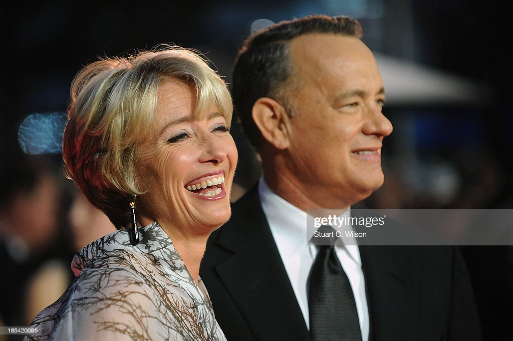 Actors Emma Thompson and Tom Hanks attend the Closing Night Gala European Premiere of 'Saving Mr Banks' during the 57th BFI London Film Festival at Odeon Leicester Square on October 20, 2013 in London, England.