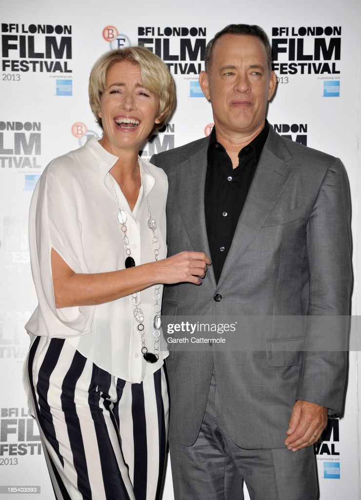 Actors Emma Thompson and Tom Hanks attend the photocall for 'Saving Mr Banks' during the 57th BFI London Film Festival at The Dorchester on October 20, 2013 in London, England.