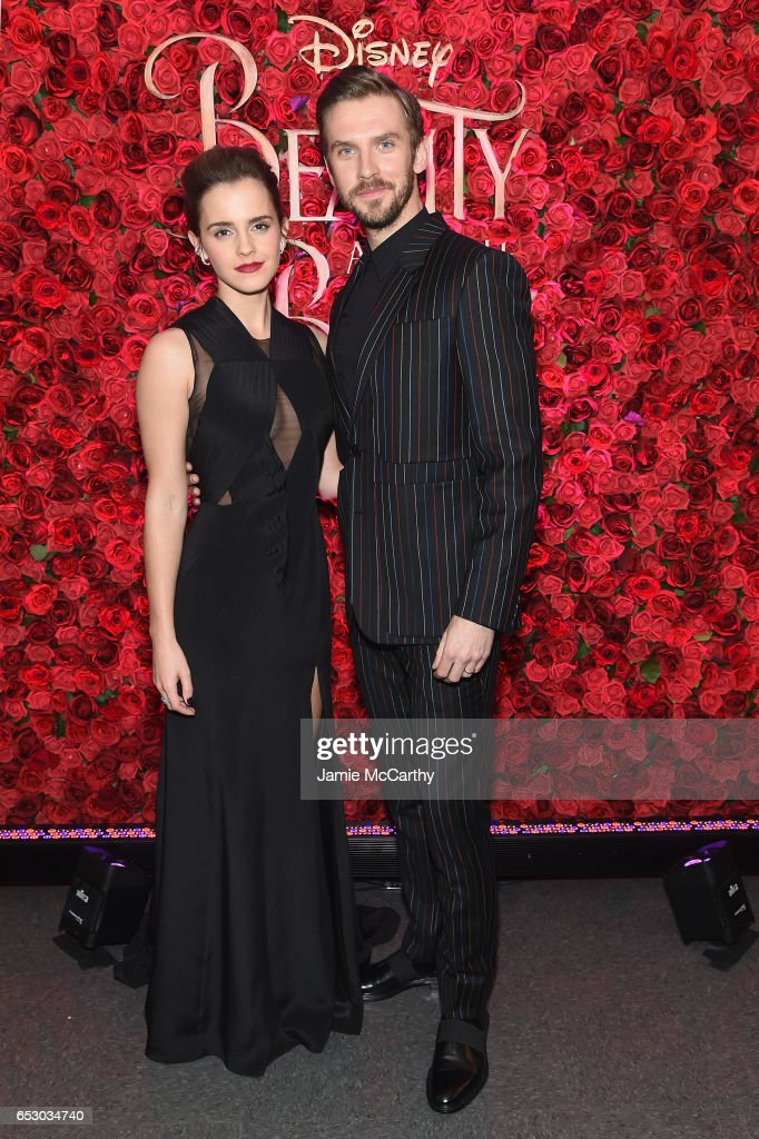 Actors Emma Watson (L) and Dan Stevens pose backstage at the New York special screening of Disney's live-action adaptation 'Beauty and the Beast' at Alice Tully Hall on March 13, 2017 in New York City.