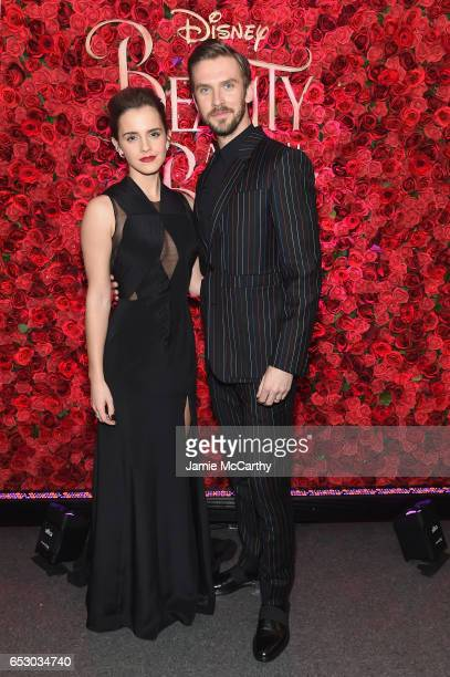 Actors Emma Watson and Dan Stevens pose backstage at the New York special screening of Disney's liveaction adaptation 'Beauty and the Beast' at Alice...