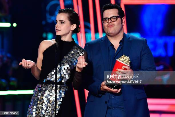 Actors Emma Watson and Josh Gad accept the Movie of the Year award for 'Beauty and the Beast' onstage during the 2017 MTV Movie And TV Awards at The...