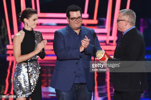 Actors Emma Watson and Josh Gad and director Bill Condon accept Movie of the Year for 'Beauty and the Beast' onstage during the 2017 MTV Movie And TV...