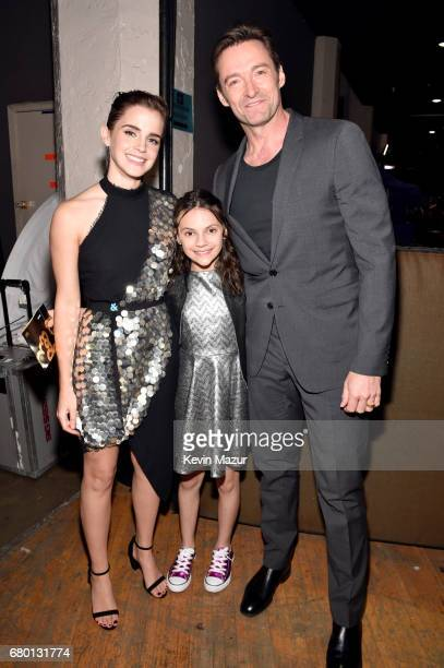 Actors Emma Watson Dafne Keen and Hugh Jackman attend the 2017 MTV Movie And TV Awards at The Shrine Auditorium on May 7 2017 in Los Angeles...