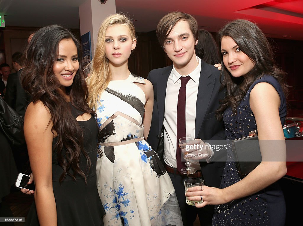 Actors Emmalyn Estrada, <a gi-track='captionPersonalityLinkClicked' href=/galleries/search?phrase=Nicola+Peltz&family=editorial&specificpeople=5306904 ng-click='$event.stopPropagation()'>Nicola Peltz</a>, Richard Harmon, Jenna Romanin attend A&E's 'Bates Motel' Premiere Party on March 12, 2013 in West Hollywood, California.
