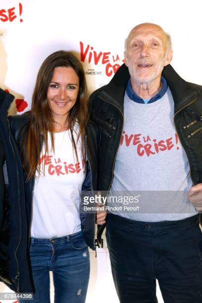 Actors Emmanuelle Boidron and Rufus attend the 'Vive la Crise' Paris Premiere at Cinema Max Linder on May 2 2017 in Paris France