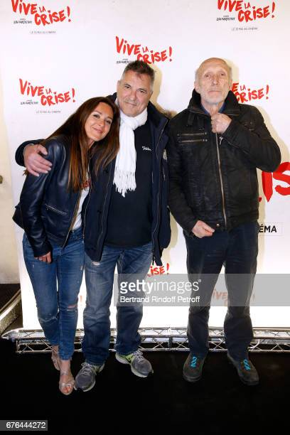 Actors Emmanuelle Boidron JeanMarie Bigard and Rufus attend the 'Vive la Crise' Paris Premiere at Cinema Max Linder on May 2 2017 in Paris France