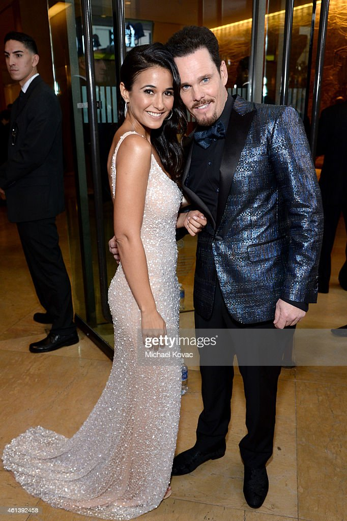 Actors Emmanuelle Chriqui (L) and Kevin Dillon attend the 72nd Annual Golden Globe Awards at The Beverly Hilton Hotel on January 11, 2015 in Beverly Hills, California.