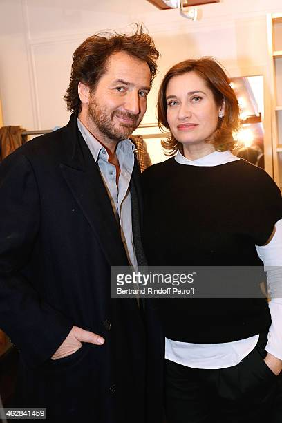 Actors Emmanuelle Devos and Edouard Baer here for their drama 'La porte a cote' from Fabrice RogerLacan attend 'Vivement Dimanche' French TV Show...