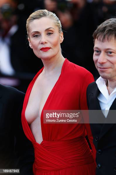 Actors Emmanuelle Seigner and Mathieu Amalric attend the 'La Venus A La Fourrure' premiere during The 66th Annual Cannes Film Festival at Theatre...
